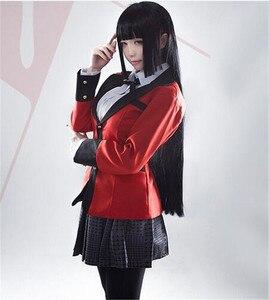 Image 2 - Holloween Cosplay Costumi Anime trasporto Kakegurui Yumeko Jabami Ragazze della Scuola Uniforme Set Completo Giacca + Camicia + Gonna + Calze E Autoreggenti + tie + WigShoes