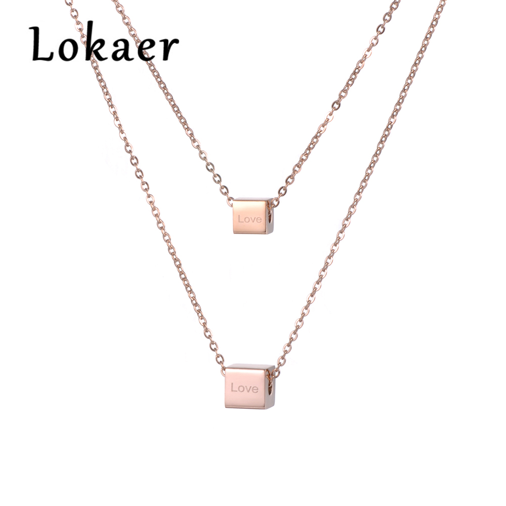 Lokaer 2 Layers Stainless Steel Rose Gold Color Necklace Love Letter Square Valentine's Day Present N18276