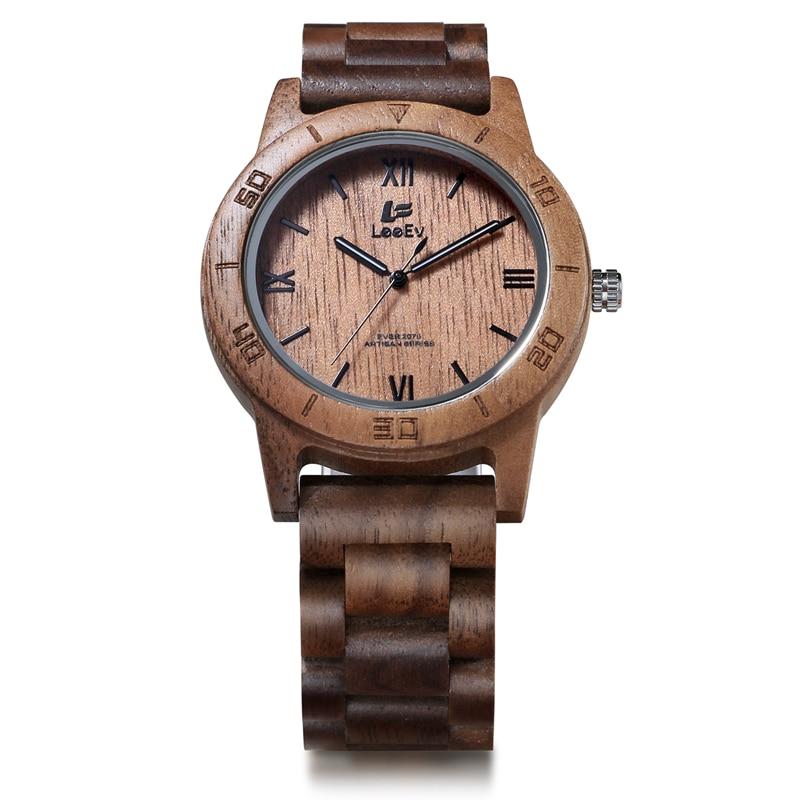LeeEv All Walnut Wooden Japanese Quartz Men Watch Full Wood Fashion Luxury Watches Man Luminous Analog Wristwatches EV2075