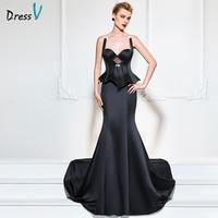 Dressv Black Long Sleeves Evening Dress Sweetheart Neck Mermaid Court Train Wedding Party Formal Dress Trumpet