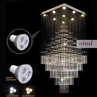 LED27W хрустальные люстры квадратный кулон свет лампы освещения светильники AC 100 до 240 В ясно K9 Кристалл Бесплатная доставка