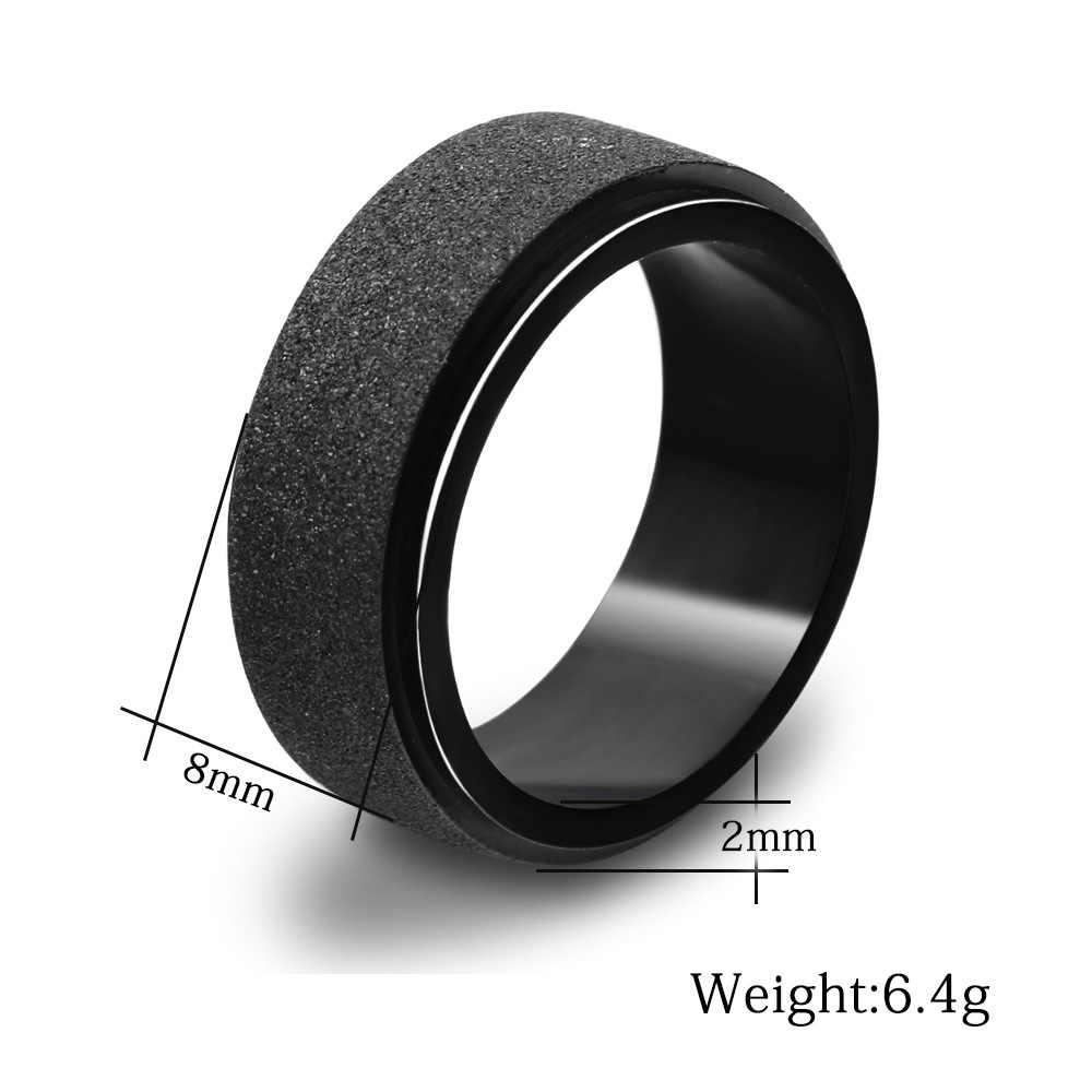 חדש כניסות מט שחור טבעות גברים תכשיטי וינטג נירוסטה גדול Biker טבעת לנשים בולגריה תכשיטי רחב 8mm