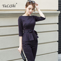 Two Piece Set 2017 Autumn Office Business Suit Women Long Sleeves O Neck Sashes Striped Blouse