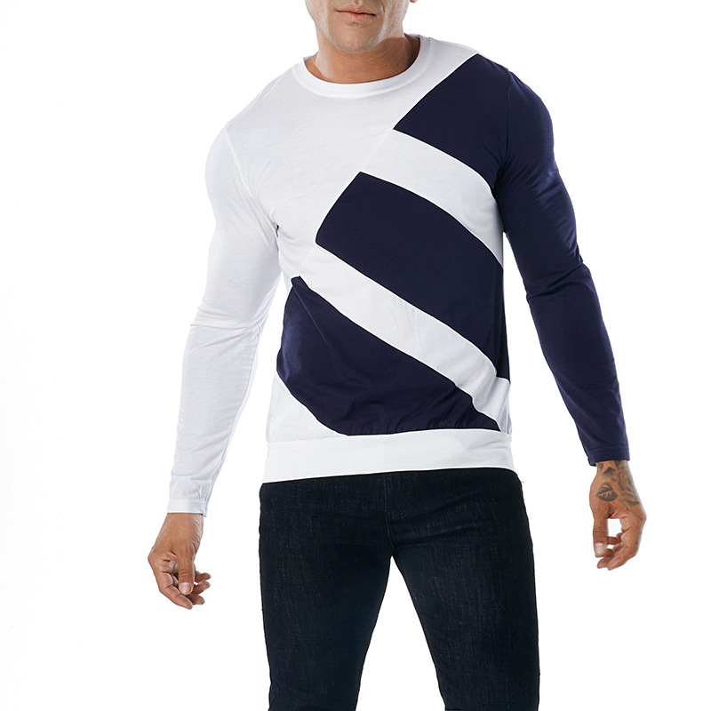 Men's autumn winter two color oblique insert fashion tshirts stitching round neck long sleeves tee clothing T shirt male tops