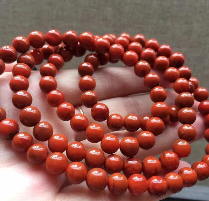 free shipping Natural Crystal Sichuan Liangshan South 8mm 108 Red Agate Flesh Persimmon Red Multi-circle Single bead Bracelet