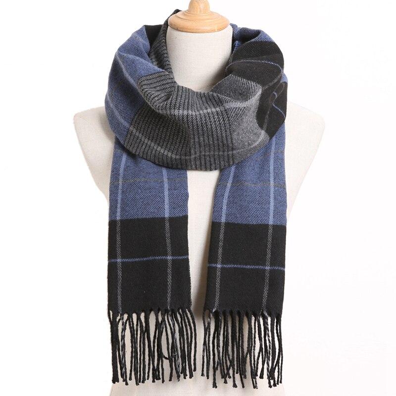 [VIANOSI] клетчатый зимний шарф женский тёплый платок одноцветные шарфы модные шарфы на каждый день кашемировые шарфы - Цвет: 46