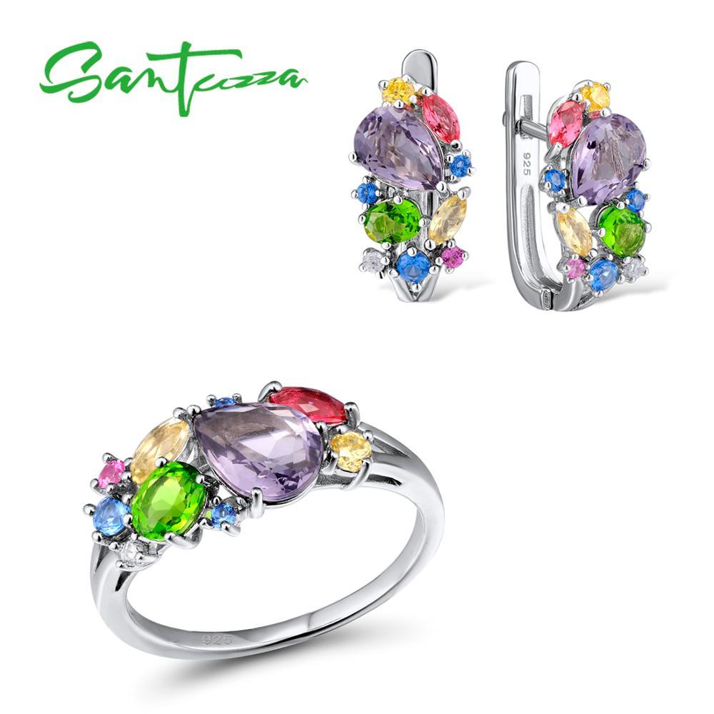 38746a95040d SANTUZZA conjuntos de joyas de plata para las mujeres Mutil-piedras de  Color blanco pendientes CZ anillo de Plata de Ley 925 de fiesta de moda  joyería