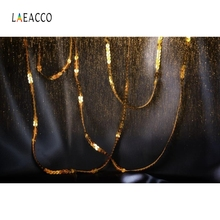 Laeacco Golden Ribbon Bokeh Black Backdrop Party Photography Backgrounds Customized Photographic Backdrops For Photo Studio