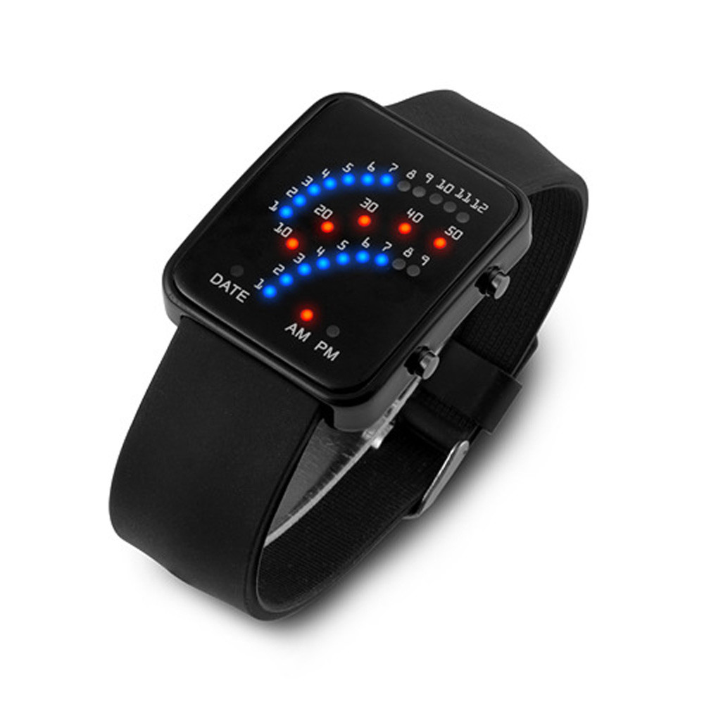 526f3aff01f0a Women Mens Futuristic Japanese Style Multicolor LED Sport Wrist Watch Red  and Blue LED Digital Watch Relogio Masculine-in Quartz Watches from Watches  ...