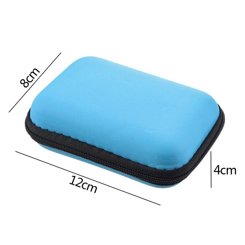 Чехол-контейнер для монет, наушников, защитная коробка для хранения, цветные наушники чехол для путешествий, сумка для хранения наушников, кабель для передачи данных, зарядное устройство - Цвет: Blue 12x8cm
