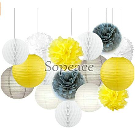 16 pack white yellow grey tissue paper pom poms flowers for bridal 1 mightylinksfo