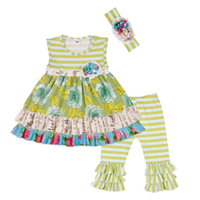 New Design Girls Cotton Clothing Remake Dress Ruffle Pants Boutique Outfits Children Clothes Matching Headband 2GK804-307 new christmas fall winter baby girls cotton moose reindeer dress ruffle children clothes boutique outfits knee length match bow