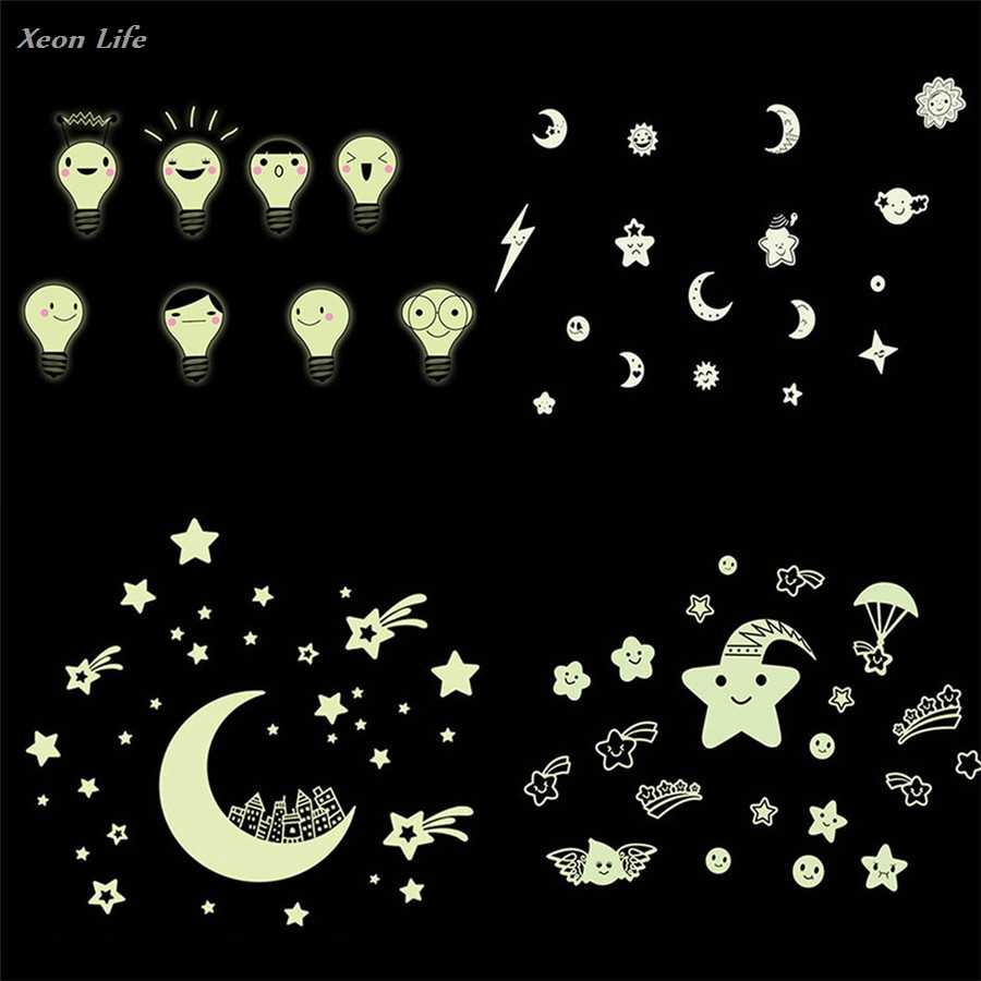 Hot Selling Hot 1PC Kids Bedroom Beautiful Fluorescent Glow In The Dark Month Stars Wall Stickers Home Decor For Living Room