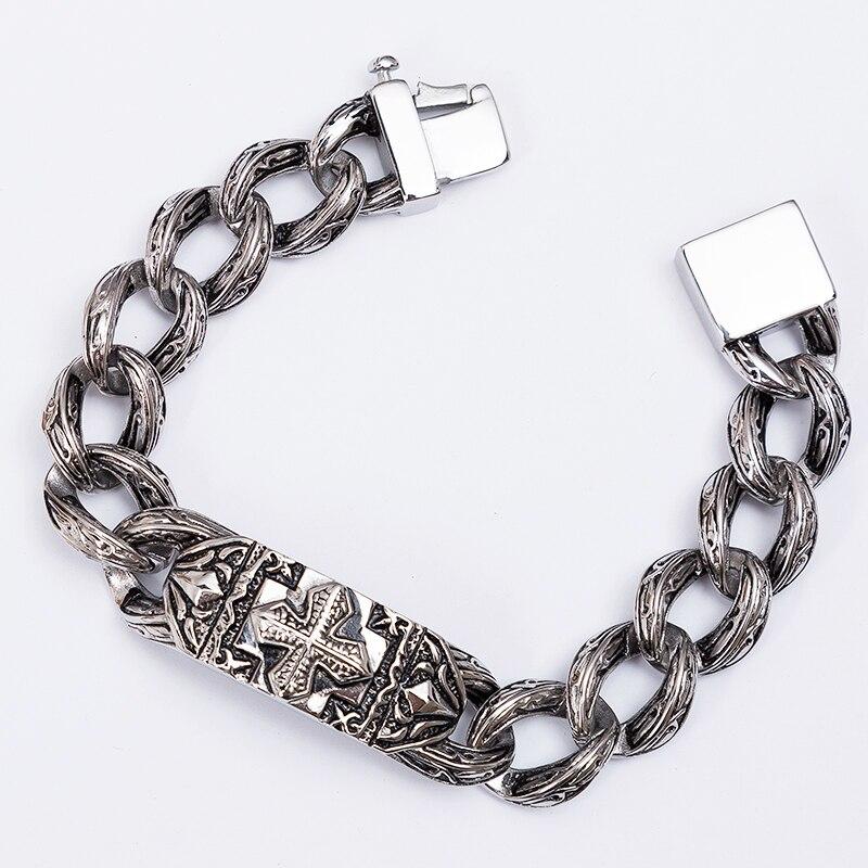 Image 5 - TrustyLan Retro Chain Link Bracelet Men 17MM Wide Heavy Cross Stainless Steel Men's Bracelets Cool Punk Male Jewelry Wristband-in Chain & Link Bracelets from Jewelry & Accessories