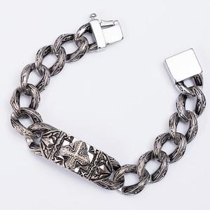 Image 5 - TrustyLan pulsera de eslabones de cadena Retro para hombre, brazalete de acero inoxidable con Cruz pesada de 17MM de ancho, Punk, joyería para hombre