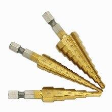 3 шт./компл.(3-12 мм/4-12 мм/4-20 мм) Шаг Core конус отверстие резак HSS Сталь Титан сверла наборы инструментов для Сталь дерево сверления металла