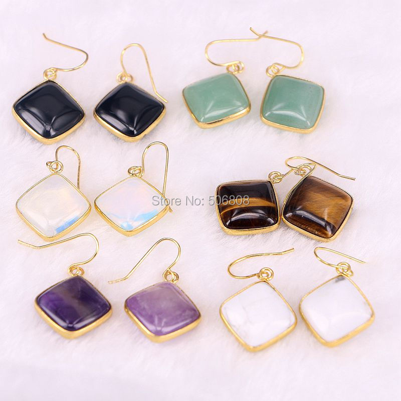 ZYZ-E5867 6Pairs Gold square Opal Tiger Eye Purple Stone cabochon Earrings Charm Jewelry  Earrings