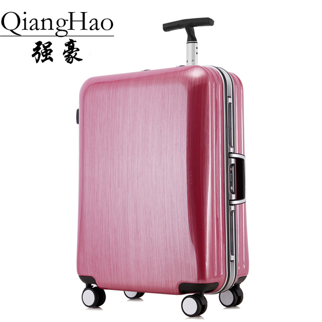 "QiangHao 20 ""22"" 25 ""29"" PC + suitcase rod rotating metal hard angle TSA aluminum frame on wheels rolling luggage bag handbag"