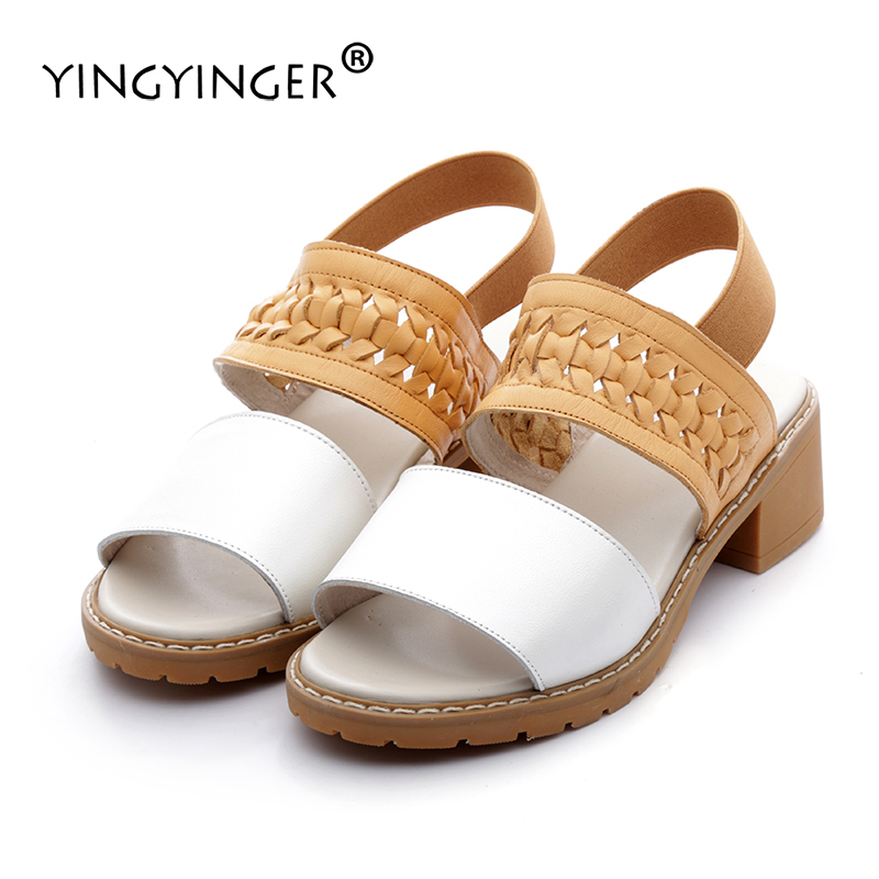 Sandals Women Genuine Leather Custom Made Mixed Colors Summer Shoes Woman Sandal High Heels Wedding Shoes Sandalias Mujer