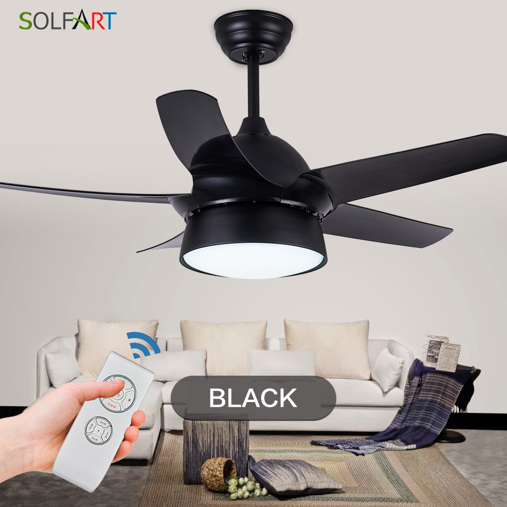 Solfart Ceiling Fan Dining Fan Blade Plastic Modern Room Fan Ceiling Fan With Remote Control Safe And Mute Black Leaves Slf9103 Outstanding Features Lights & Lighting Ceiling Fans