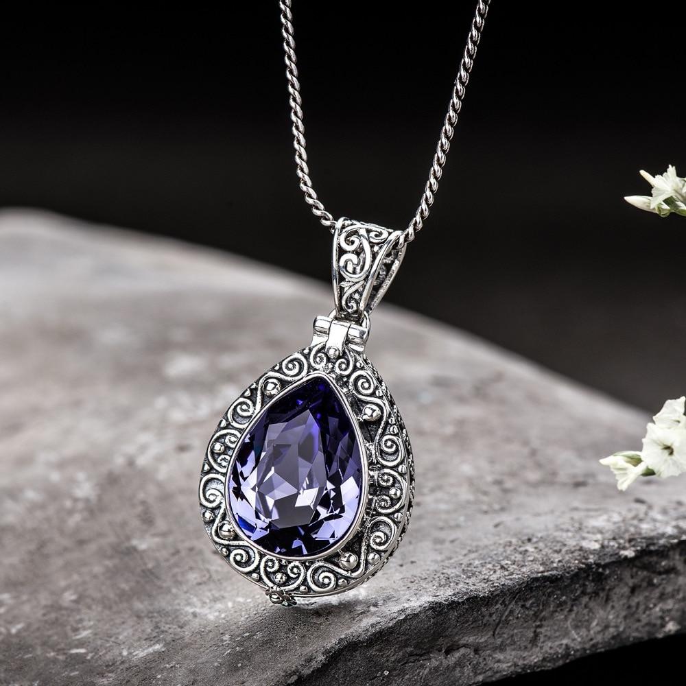 925 Sterling Silver Natural Amethyst Crystal Pendant Openable Kwu Box Drop Shape Vintage Flower Engraved Pendant