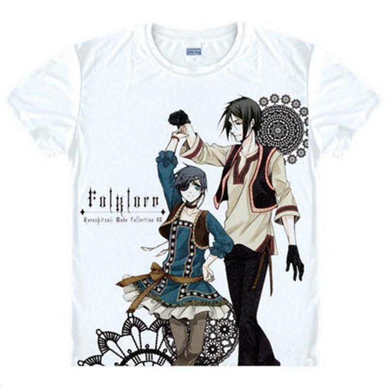 Anime Black Butler T Shirts Ciel Phantomhive Funny T-shirts Sebastian Michaelis Short-Sleeve Print Tops Elizabeth Tees