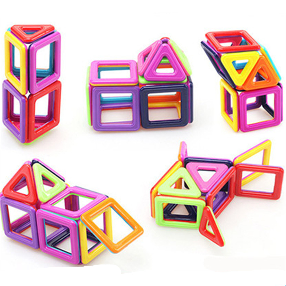 35pcs Pink Block Magnetic Designer Building Set Model And Construction Toy Plastic Magnetic Block Educational Toy For Kids