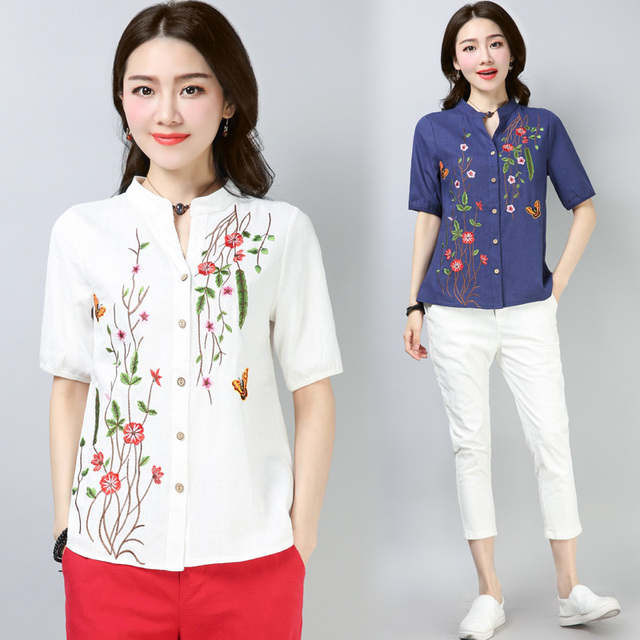 db3d92c6319 2018 Summer Women s Embroidered Cotton Linen Shirt Women Short Sleeve  Blouses Loose Linen Tops