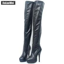 15 センチメートルハイヒールクラシック女性股高ブーツプラットフォームラウンドトウ薄型高膝ブーツカスタム任意の色