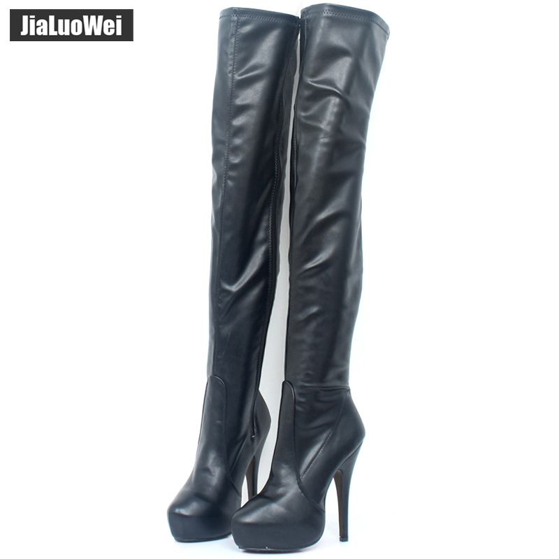 15CM high heel Classics Women Boots Thigh High Boots Platform Round Toe Thin High Shoes Red Bottom Shoes custom any colors
