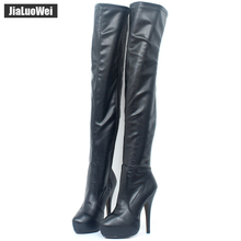 15CM high heel Classics Women Boots Thigh High Boots Platform Round Toe Thin High Shoes Red Bottom Shoes custom any colors  недорого
