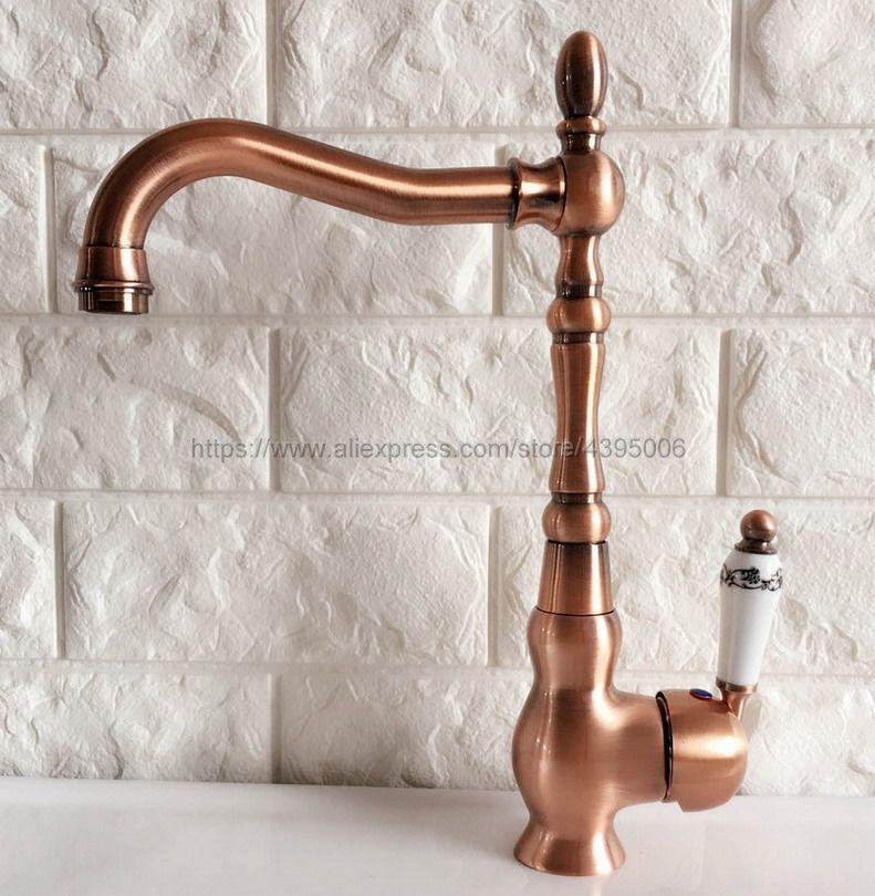 Basin Faucets Antique Red Copper Bathroom Sink Faucet 360 Degree Swivel Spout Single Handle Bath kitchen Mixer Taps Bnf424Basin Faucets Antique Red Copper Bathroom Sink Faucet 360 Degree Swivel Spout Single Handle Bath kitchen Mixer Taps Bnf424