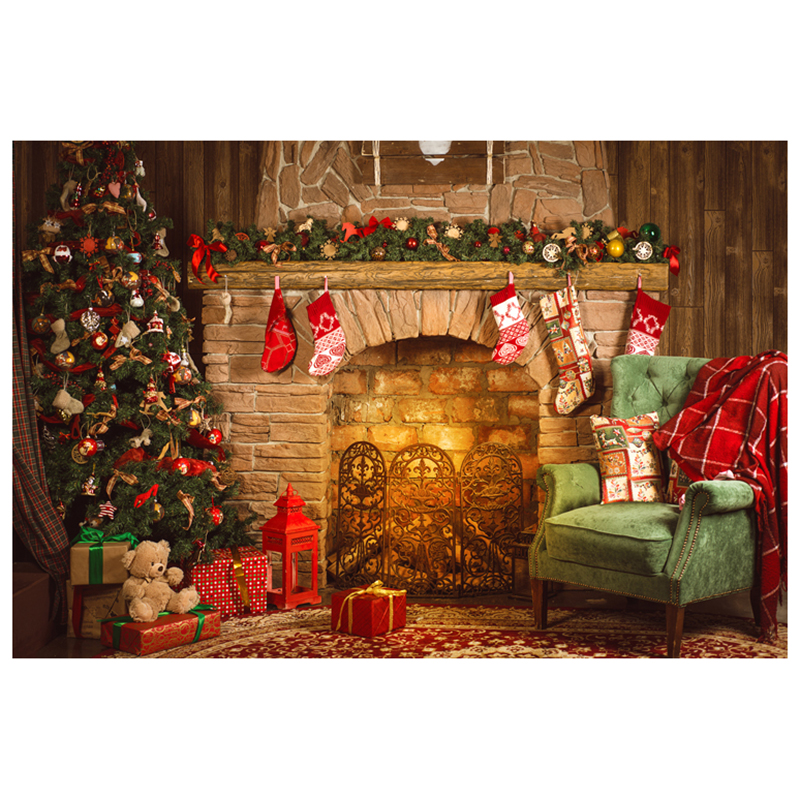 7X5FT 210X150CM vinyl Christmas theme picture cloth custom photography background studio props Stone brick fireplace Chris