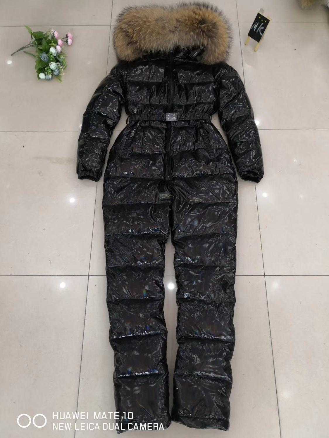 Girl Jumpsuit Winter Women Bodysuit natural Fur female bodysuit down Jumpsuit Women Jumpsuits Hooded Outwear M L XL XXL
