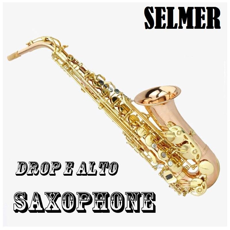 Rofessional performance grade brass alto falling tune E saxophone, electrophoresis gold drops Eb sax high grade concert rubber eb alto clarinet