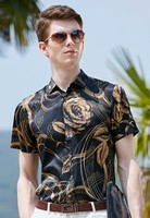 New fashion printed silk short sleeve shirt for men's leisure collar in summer of 2019