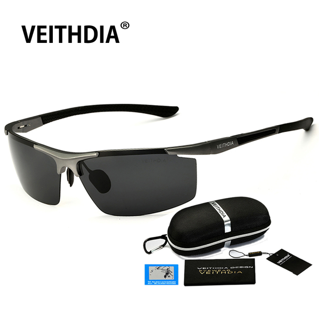 VEITHDIA 2017 Aluminum Magnesium Sunglasses Polarized Men Semi rimless Coating Mirror Sun Glasses Male Eyewear Accessories 6588