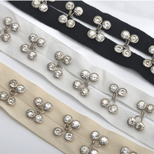 Подгонянные вручную прозрачные стеклянные заклепки из горного хрусталя на 2 см хлопчатобумажной ленте латунные никелированные крючки для украшения свадебного платья TP001
