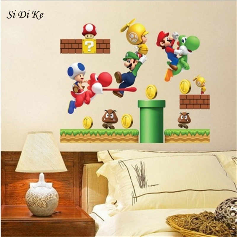 Si Di Ke 3D Cartoons Super Mario Bros Wall Stickers for Kids Rooms Boys Gifts Through Wall Decals Home Decor Mural