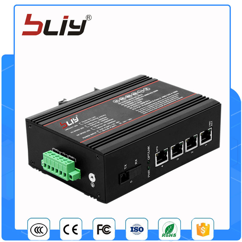 1GX4GT non managed 5 gigabit port optic fiber switch with 4 gigabit rj45 port fiber poe switch with 4 rj45 gigabit port for ip camera cctv camera 1 pair