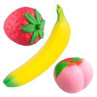 3 Sztuk Banana Squishy Zabawki Super Słodkie Brzoskwinia Truskawki Powolne Rośnie Stress Relief Ciśnienia Wycisnąć Miękkie Symulacja Owoce Dla Dzieci