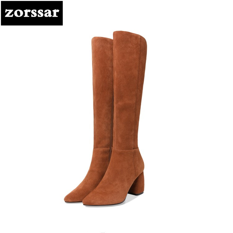 {Zorssar} 2019 New Winter Plush Female Snow boots Fashion Thigh High Boots Suede Leather Thick heel Women Over The Knee boots zorssar 2019 new fashion female snow boots winter plush thigh high boots suede leather flat heel women over the knee boots
