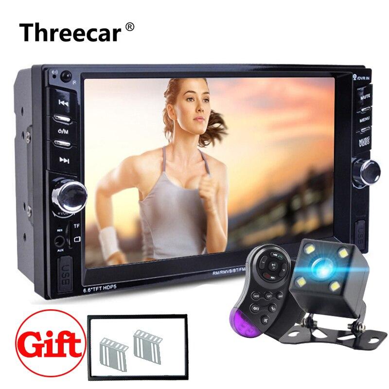 Double Din Car Radio Autoradio 6.6 LCD Screen Mirror Link Mp5 Player Bluetooth FM USB Car Stereo Radio Support Camera Car Radio