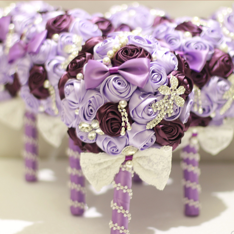 Light Purple Brooch Bouquet Silk Bride Bridal Wedding