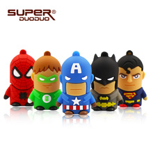 Superheros pendrive 4GB 8GB 16GB cheap Usb flash drive 32GB 64GB cartoon pen drive batman spiderman Captain America memoria usb cheap USB 2 0 May-13 Creative Rectangle ROBOT Animal Sdd-pendrive-73 Silicone superduoduo