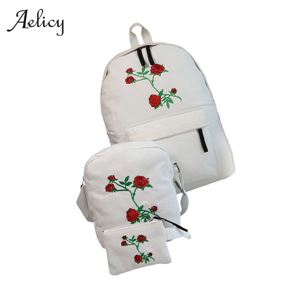3 PCS/SET Canvas Backpack Rose Embroidery Backpacks For Teenagers Women's Travel Bags Mochilas Rucksack School