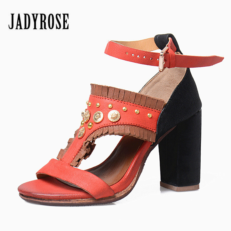 Jady Rose Bohemian Gladiator Sandals Women Mixed Color Ankle Strap Ethnic Summer Sandal Rivets Studded High Heel Shoes Woman  summer newest woman sandal thin heels high heel shoes 2017 solid red leather ankle buckle strap sandals rivets studded shoes