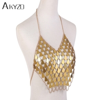 AKYZO 2018 Sexy Metal Chain Acrylic Sequins Tank Top Women Hollow Fish Scales Cropped Summer Beach