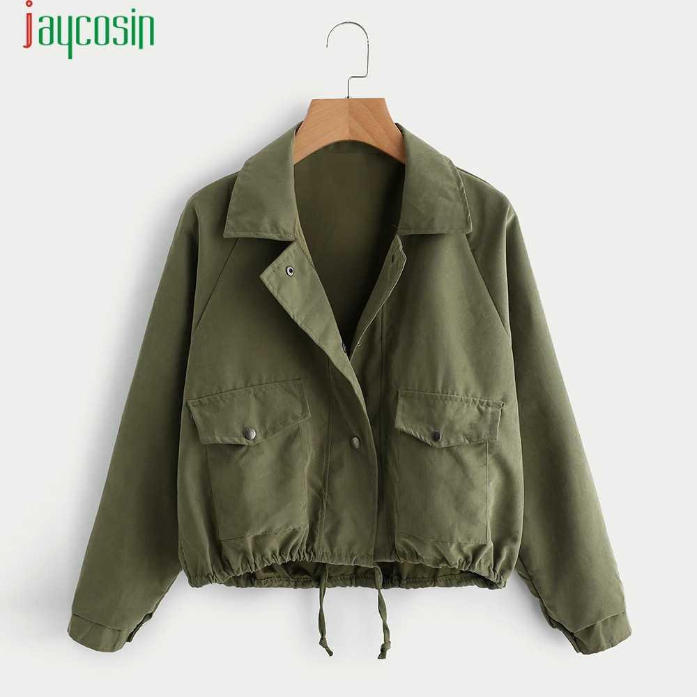JAYCOSIN Jacken Frauen Mode einfarbig Outwear mäntel Casual Taste Herbst Kleidung Taschen regelmäßige Langarm Outwear 09