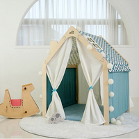 Kids Play House Portable Wooden Modern Funny Games Teepee Tent For Girls Boys Tipi Kids Playhouse Toys For Children Gift